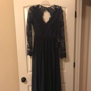 Lulus Formal Navy Lace Long Sleeve Dress, NWT